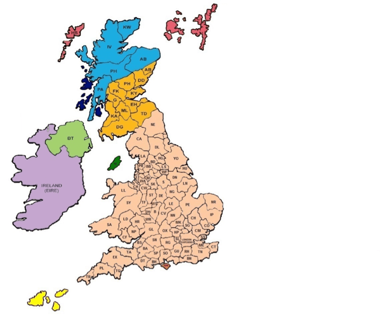 uk and ireland delivery areas map
