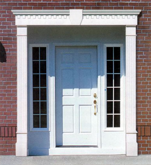 Door surround pilasters for Exterior door pediment and pilasters