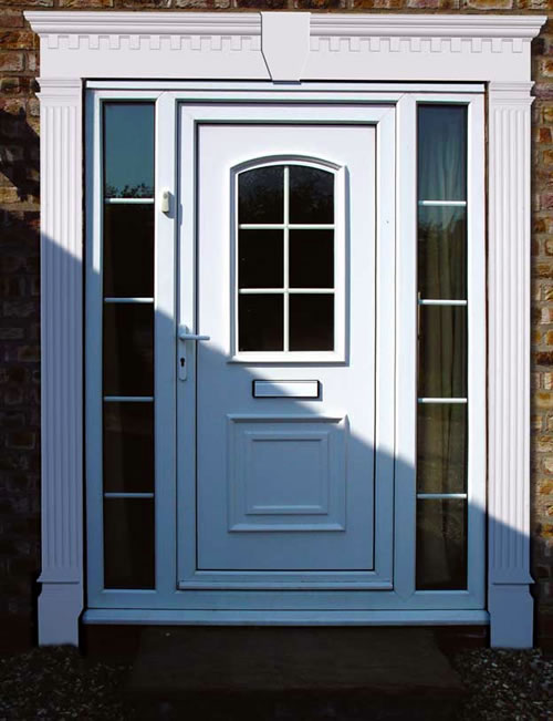 Door pilaster garage door surround and pilaster kit for Exterior door pediment and pilasters