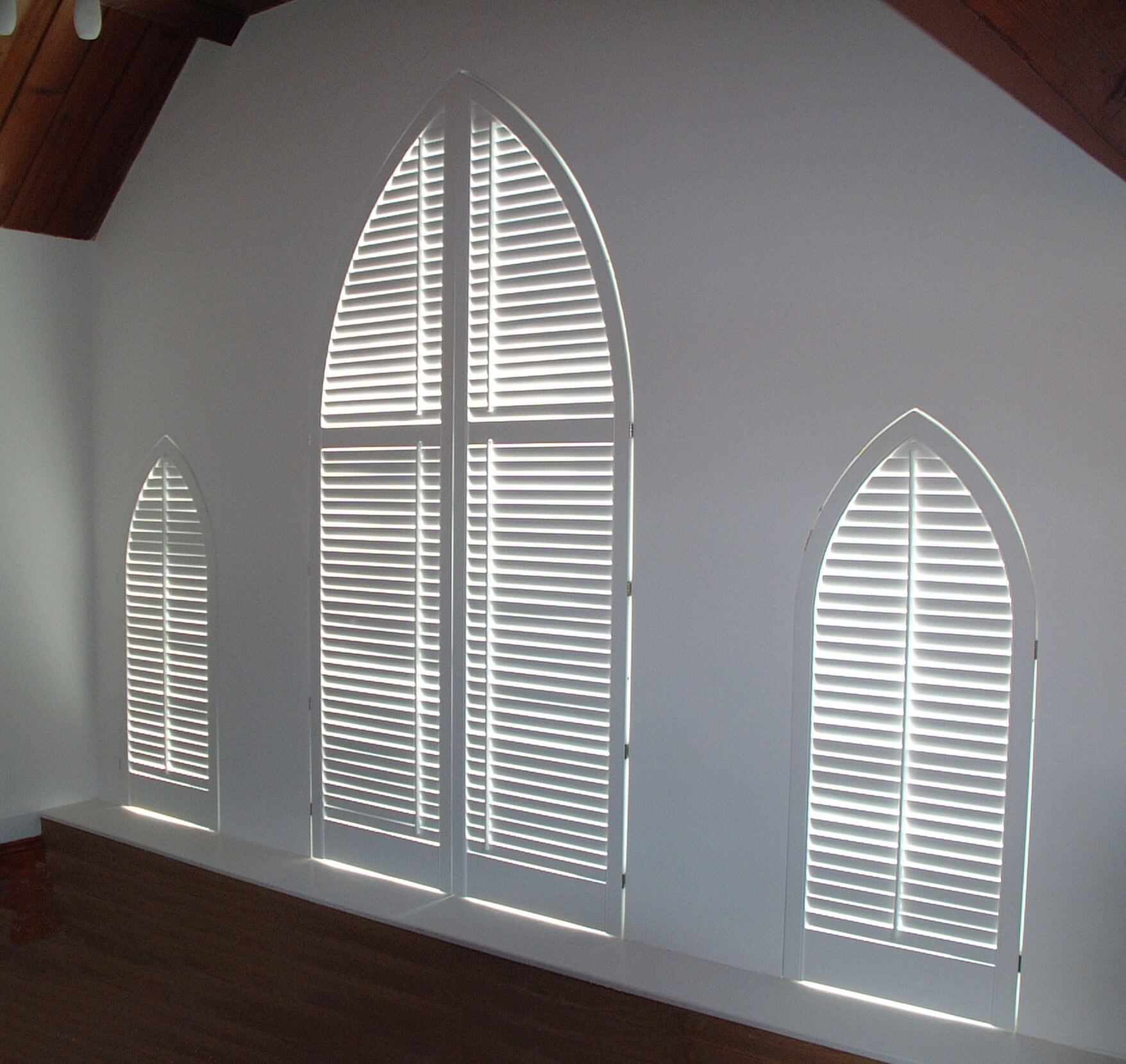 Interior plantation shutters for Internal arch
