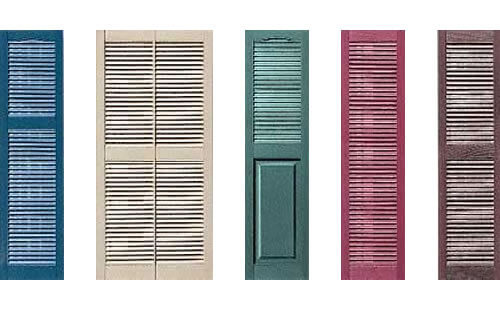 Traditional Louvre Decorative Exterior Window Shutters from Simply
