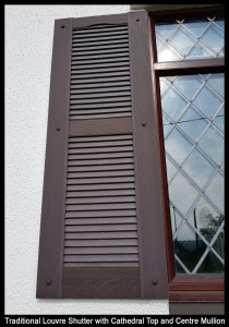 Traditional Louvre Shutters in Brown