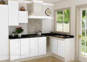 White Painted Louvre Doors Kitchen