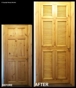 before and after modified internal door
