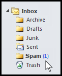 arrow pointing at spam folder in an email inbox