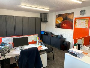 office room with large picture and bright orange door