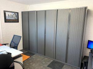 grey tambour storage units