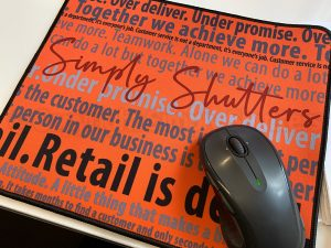 close up mousemat with text design