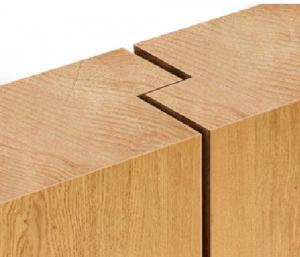 close up of rebated edge wood