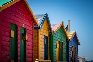 Brightly painted sheds