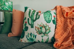 close up cushions and blanket